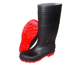 Black PVC working safety gumboots
