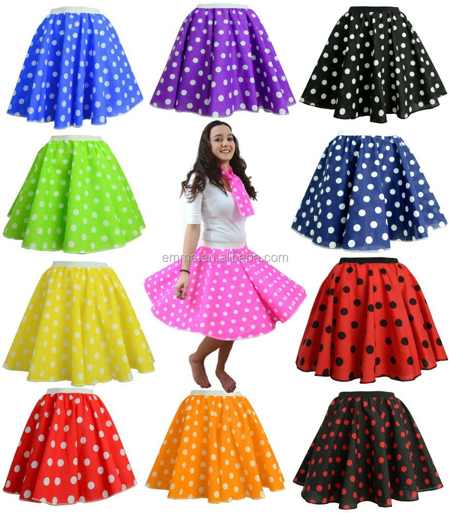 Adults POLKA DOT ROCK AND ROLL 50s SKIRT SCARF FANCY DRESS COSTUME Hen Party BW3040