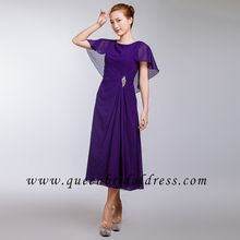 Ruffle bateau neckline chiffon Tea length bridesmaid dress