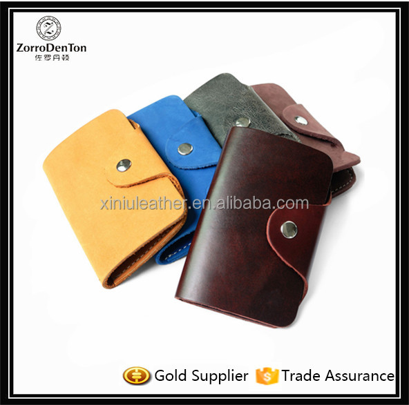 Vegetable Tanned Leather Cowhide Card Key Case Chains Rings Bag