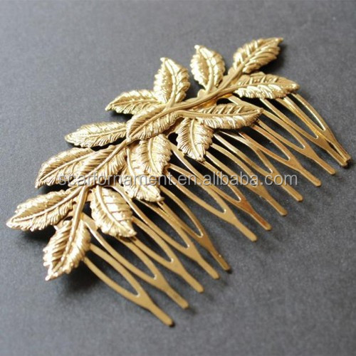Cheap Zinc Alloy Dance Head Jewellry Gold Metal Leaf Hair Comb In Bulk Fairy Carnival Headpiece