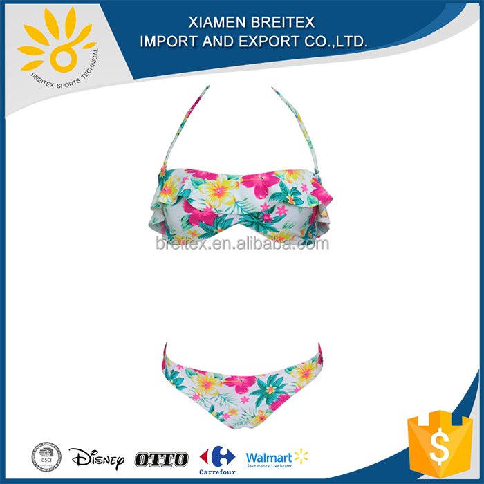 Hot Selling For Young Girl Swimsuit 2016 lady flower print sling bikini swimwear