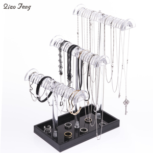 Wholesale High End 3 Tier T Bar Crystal Clear Acrylic Bangle Bracelet Necklace Jewellery Jewelry Display For Shopping Mall