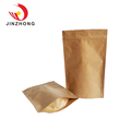 Biodegradable Ziplock Pouch Stand Up Paper Packaging Brown Kraft Paper Bag