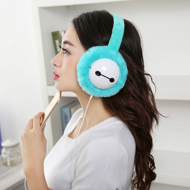 Cute Baymax Warm Plush Winter Earmuffs Headphones Outdoor Ear Muff Music Earphones Sport Headset Ear warmer Protector