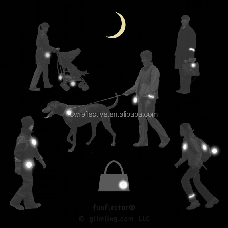 glow in the dark safety reflector reflective hanger keychain for kids school backpack