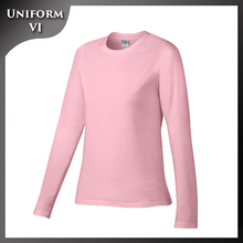 Blank promotional ladies long sleeve comfortable 100% cotton custom t shirt printing