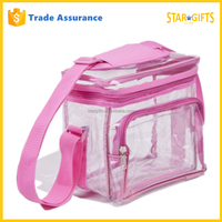 Alibaba China Custom Pink 600D Polyester Clear PVC Messenger Bag For School