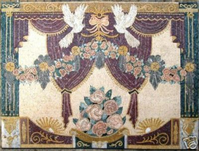 Flowers & Dove In Micro Marble Mosaic