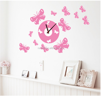 Flying butterfly of flowers Wall Clock Stickers creative clock wall decals for Girl Room decor design