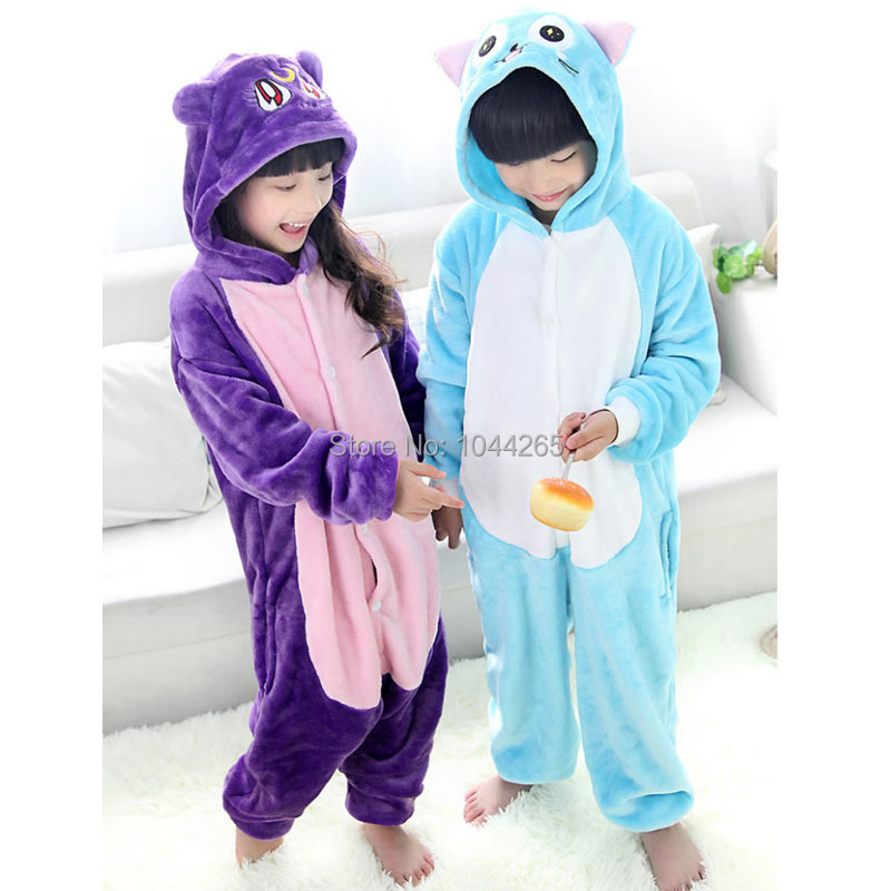 buy cat flannel cosplay costume anime animals cat hubby onesie for kids children halloween dress party girl boy pajamassleeper in cheap price on malibaba