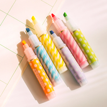 Y18 Set of 6 Cute Mini Dots Striped Highlighter Paint Marker Pen Drawing Liquid Chalk Stationery School Office Supply Kids Gift