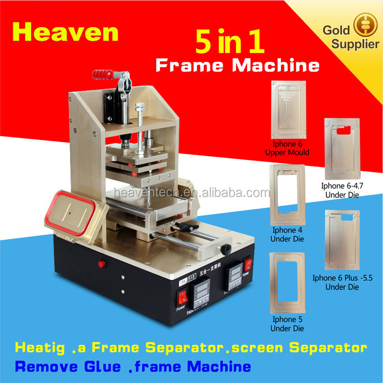 5 1n 1 Machine = iphone Middle Bezel Splite + iPhone Frame Laminator + Vacuum LCD Screen Separator + Glue Remover + Preheater