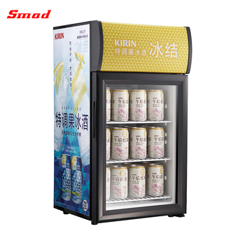 Small LED Light Portable Refrigerated Beer Beverage Display Cooler Showcase