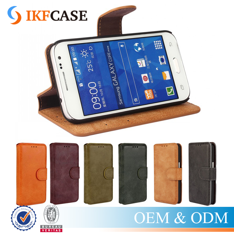 Hot Selling Flip Pu Leather Wallet Case for Samsung Galaxy Core Prime G360