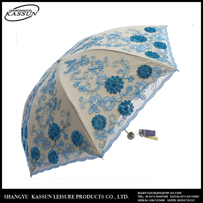 Competitive price widely use new fashion the whole lace sequins embroidery surface umbrella