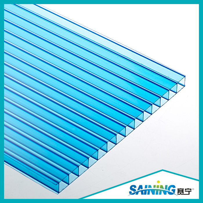 Blue Twin Wall 2.8mm-12mm thickness Polycarbonate sun shade sheet roofing for car parking