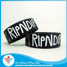 1 Inch Debossed Ink Filled Silicon Bracelet Black Ripndip Wristband