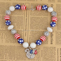 July 4th Festival Patriotic Rhinestone Cartoon Mouse Pendant Pollka dot Bubble Bead Necklace for Kids Birthday Gift