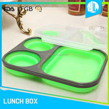 Hot selling nice design green 3-compartment bento lunch box
