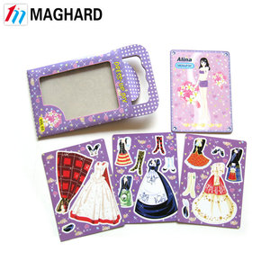 High quality delicate DIY magnetic paper doll dress up game toy