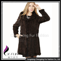 CX-G-A-07 Korea Real Fur Trimmed Women's Mink Fur Coat