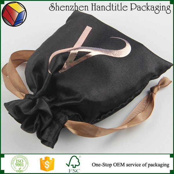 Hot sale custom small hair extension satin drawstring bag/satin pouch