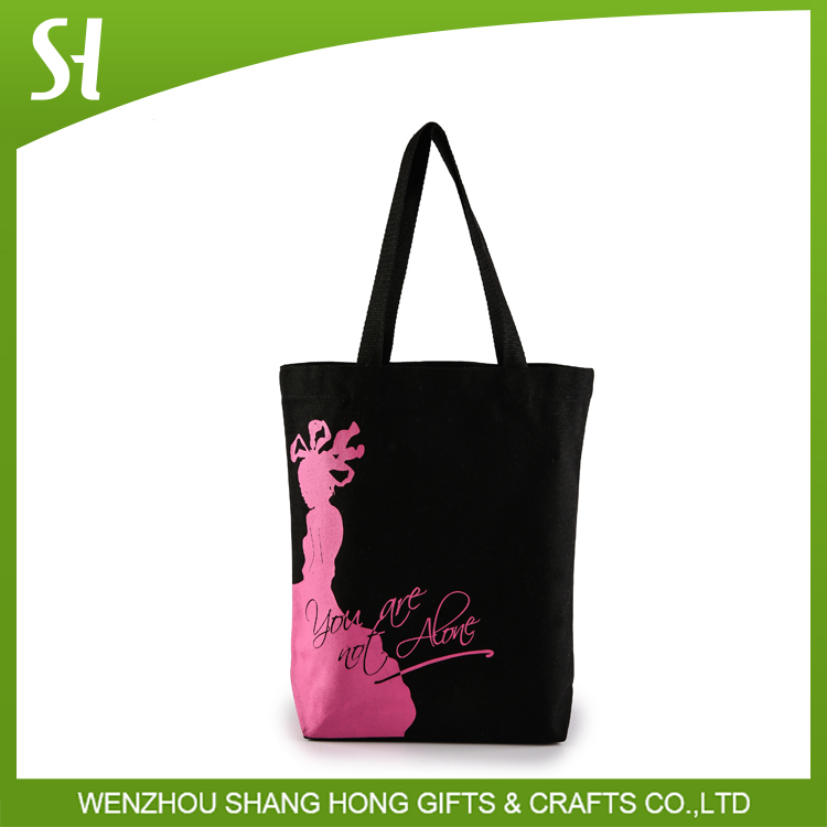heavy elegent black color cotton canvas cloth tote bag with lady girl printed