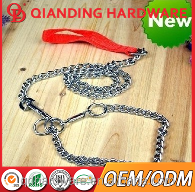 Dog Pet Leash Metal Chain Leads With Leather Handle 100cm Chain