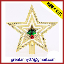 best price christmas decorations gold metal star christmas tree topper
