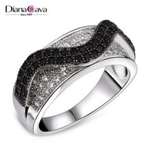 Trending Style Curve Wavy Pattern Jet & Clear Zirconia Stones Party Jewelry Ring