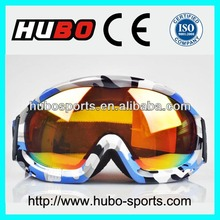 2014 new design camouflage printing brand ski glasses with CE standard