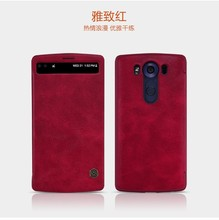 NILLKIN Qin Series for LG V10 Case, Window Caller ID Smart Auto Wake Up Sleep Flip Leather Case for LG V10