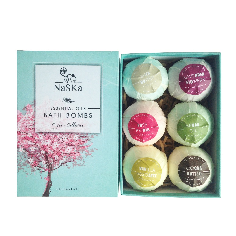 Bath Bombs Gift Set, Organic Natural Essential Oil, Ideal for Spa & Beauty, Skin Care, Stress Relief, 6 pcs --338018