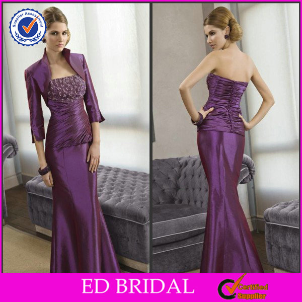 2014 Good Quality Beautiful Eggplant Mother Of The Bride Dress Satin Suits