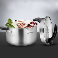 Quality kitchen cookware insulated stainless steel casserole pot with bakelite handle