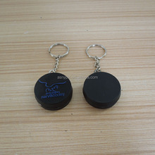 Promotional rubber hockey puck pvc key chain