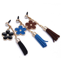 Metal Glod Plated earphone jack anti dust plug with Flower and Leather Tassels