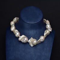 modern customized designed large baroque pearl necklace and bracelet