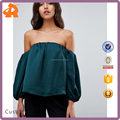 custom make off shoulder plain lady blouse & top,new design girls satin blouse in china