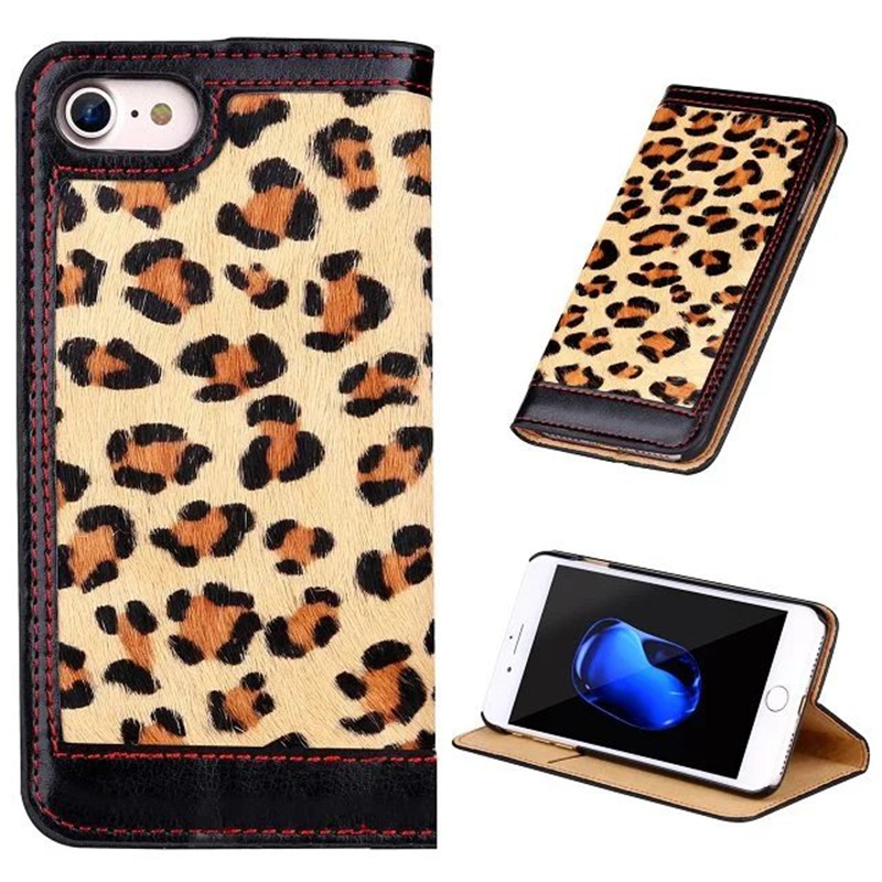 High Quality Classic Leopard pattern Leather Case for iPhone 7,for iphone 7 Cover