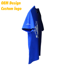 Custom Color Fashion Spendex all over Print Big size 180gsm Royal Blue O- neck Kid Tee shirt for Company
