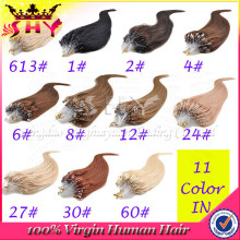 New fashion high quality 100% virgin human hair micro loop ring hair extensions