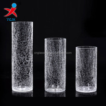 mouth blown clear crackle glass cylinder vase for decorations