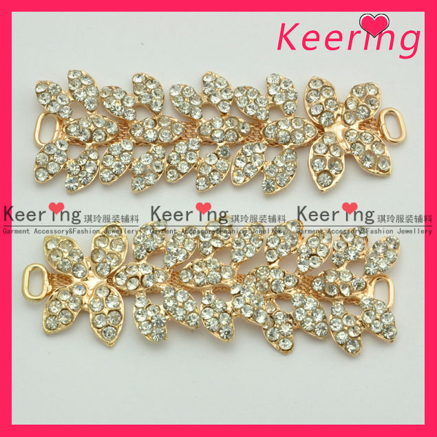 Custom Rhinestone & pearl Ribbon Buckle Cheap Buckle for Shoes Decoration WCK-962