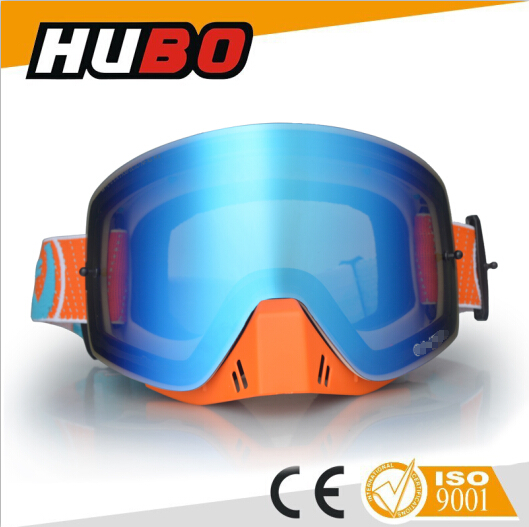 100% anti UV chinese motorcycle motocross goggles and anti slip strap