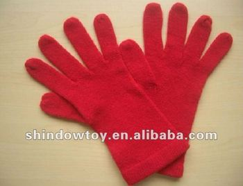 ladies red acrylic knit gloves