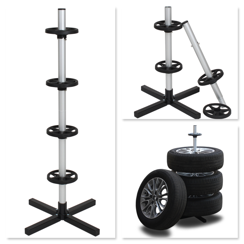Aluminum 4 Car Wheel Display Holder Tire Stand
