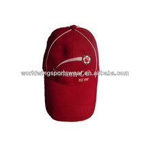 Mens custom structured 100% brushed cotton twill red with white piping embroidered baseball cap