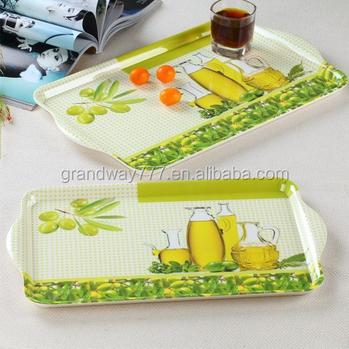 Tea Artwork Melamine Serving Tray,Promotion Melamine Tray,Melamine Plastic Tray